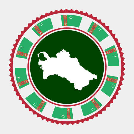 Turkmenistan flat stamp. map and flag of Turkmenistan. Vector illustration.
