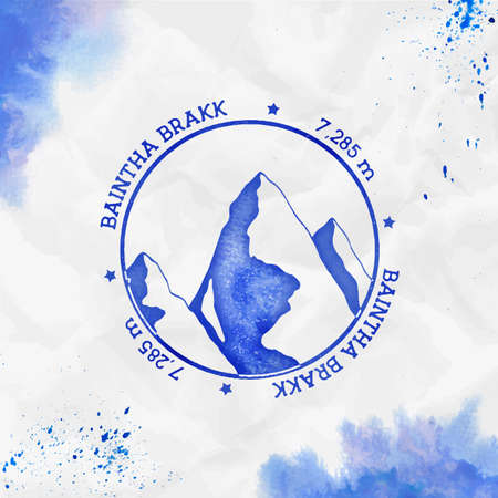 Baintha Brakk. Round stamp blue vector insignia. Baintha Brakk in Panmah Muztagh, Pakistan outdoor adventure illustration.