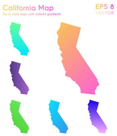 Map of California with beautiful gradients. Awesome set of California maps. Tempting vector illustration.