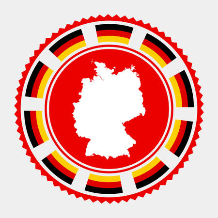 Germany flat stamp. map and flag of Germany. Vector illustration.