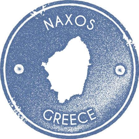 Naxos map vintage stamp. Retro style handmade label, badge or element for travel souvenirs. Light blue rubber stamp with island map silhouette. Vector illustration.