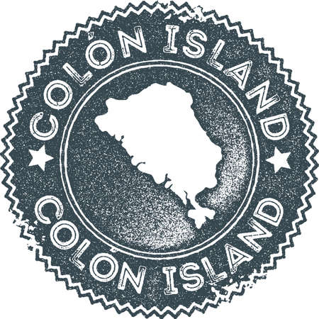 Colon Island map vintage stamp. Retro style handmade label, badge or element for travel souvenirs. Dark blue rubber stamp with island map silhouette. Vector illustration.