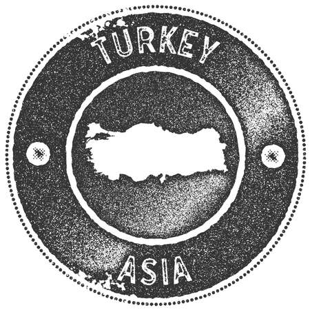 Turkey map vintage stamp. Retro style handmade label, badge or element for travel souvenirs. Dark grey rubber stamp with country map silhouette. Vector illustration.
