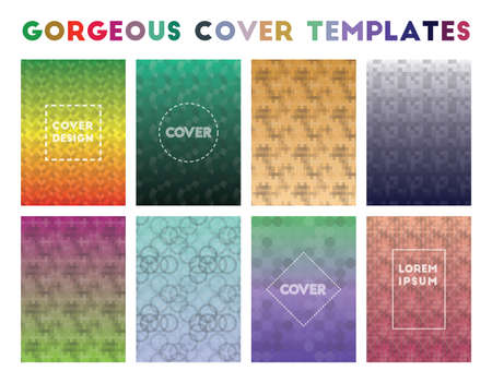 Gorgeous Cover Templates. Alluring geometric patterns. Bizarre background. Vector illustration.