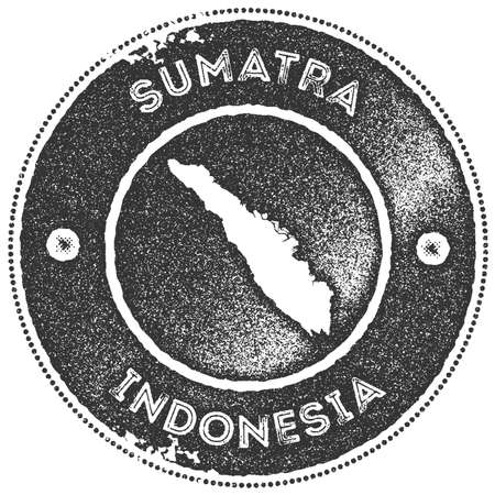 Sumatra map vintage stamp. Retro style handmade label, badge or element for travel souvenirs. Dark grey rubber stamp with island map silhouette. Vector illustration.