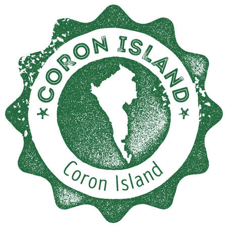 Coron Island map vintage stamp. Retro style handmade label, badge or element for travel souvenirs. Dark green rubber stamp with island map silhouette. Vector illustration.