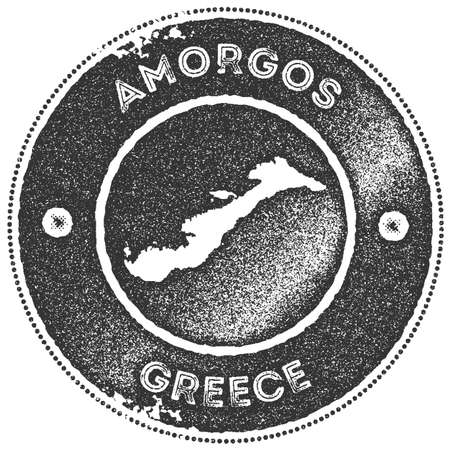 Amorgos map vintage stamp. Retro style handmade label, badge or element for travel souvenirs. Dark grey rubber stamp with island map silhouette. Vector illustration.