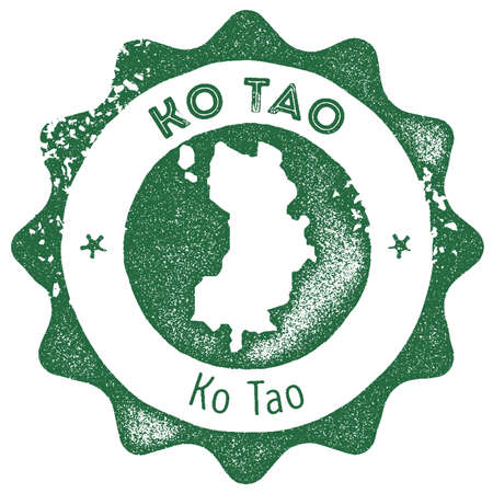 Ko Tao map vintage stamp. Retro style handmade label, badge or element for travel souvenirs. Dark green rubber stamp with island map silhouette. Vector illustration.