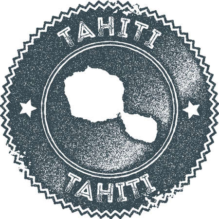 Tahiti map vintage stamp. Retro style handmade label, badge or element for travel souvenirs. Dark blue rubber stamp with island map silhouette. Vector illustration.