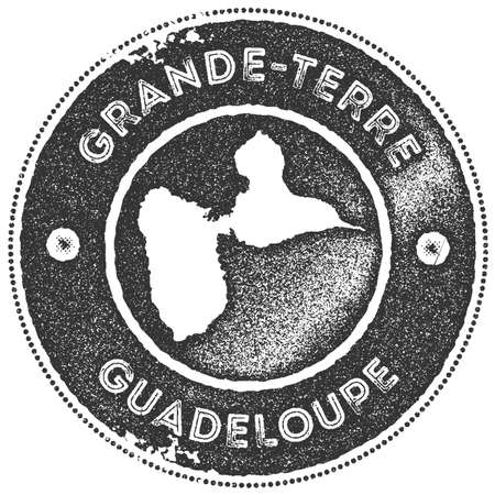 Grande-Terre map vintage stamp. Retro style handmade label, badge or element for travel souvenirs. Dark grey rubber stamp with island map silhouette. Vector illustration. Illustration