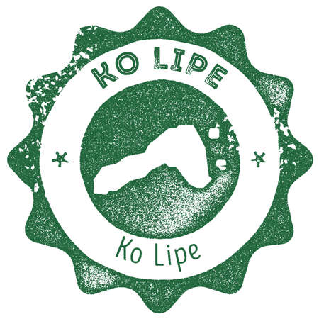 Ko Lipe map vintage stamp. Retro style handmade label, badge or element for travel souvenirs. Dark green rubber stamp with island map silhouette. Vector illustration. Illustration