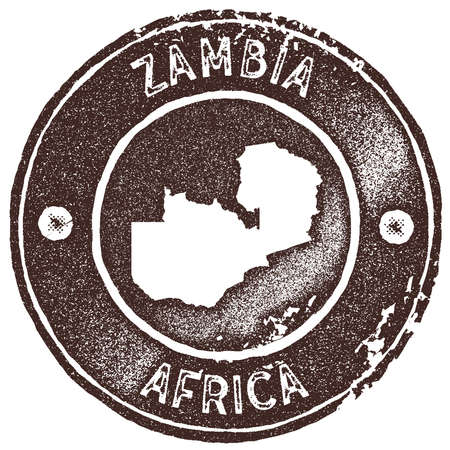 Zambia map vintage stamp. Retro style handmade label, badge or element for travel souvenirs. Brown rubber stamp with country map silhouette. Vector illustration. Illustration