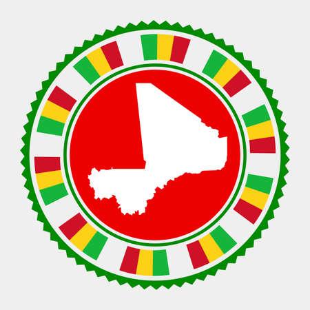 Mali flat stamp.  map and flag of Mali. Vector illustration. Illustration