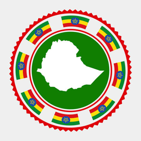 Ethiopia flat stamp.  map and flag of Ethiopia. Vector illustration.  イラスト・ベクター素材