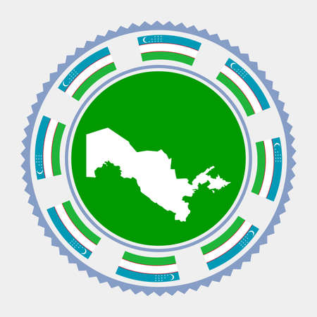 Uzbekistan flat stamp.  map and flag of Uzbekistan. Vector illustration.