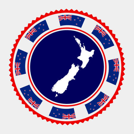 New Zealand flat stamp.  map and flag of New Zealand. Vector illustration.