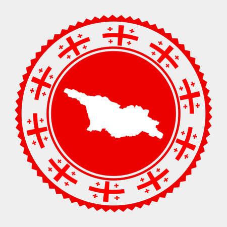 Georgia flat stamp.  map and flag of Georgia. Vector illustration.