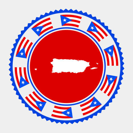 Puerto Rico flat stamp. map and flag of Puerto Rico. Vector illustration.