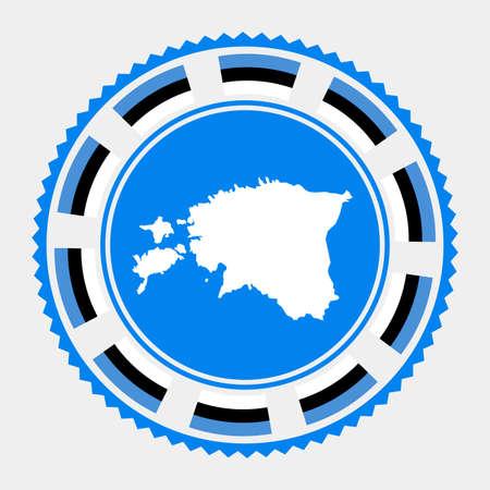 Estonia flat stamp.  map and flag of Estonia. Vector illustration.