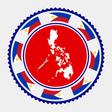 Philippines flat stamp.   map and flag of Philippines. Vector illustration.