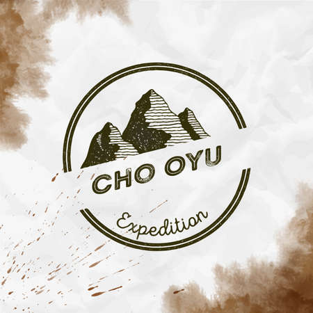 Mountain Cho Oyu  Round expedition sepia vector insignia. Cho Oyu in Himalayas, Nepal outdoor adventure illustration.