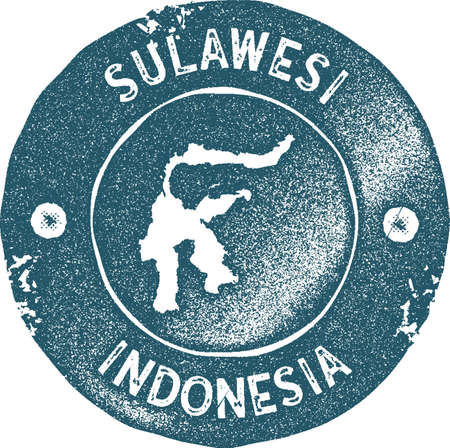 Sulawesi map vintage stamp. Retro style handmade label, badge or element for travel souvenirs. Blue rubber stamp with island map silhouette. Vector illustration.