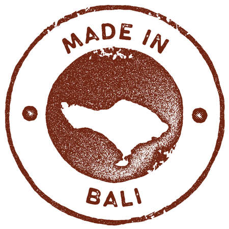 Bali map vintage stamp. Retro style handmade label, badge or element for travel souvenirs. Red rubber stamp with island map silhouette. Vector illustration.