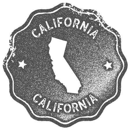 California map vintage stamp. Retro style handmade label, badge or element for travel souvenirs. Grey rubber stamp with us state map silhouette. Vector illustration.