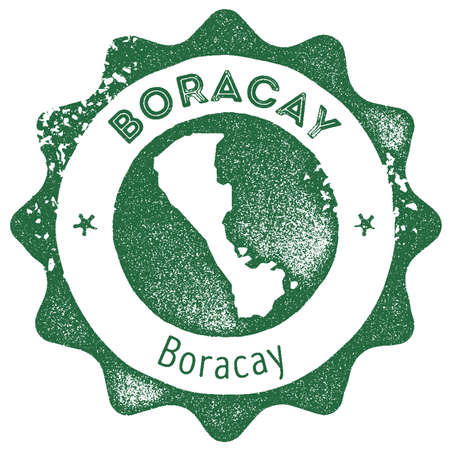 Boracay map vintage stamp. Retro style handmade label, badge or element for travel souvenirs. Dark green rubber stamp with island map silhouette. Vector illustration. Illustration
