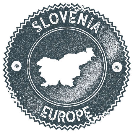 Slovenia map vintage stamp. Retro style handmade label, badge or element for travel souvenirs. Dark blue rubber stamp with country map silhouette. Vector illustration.