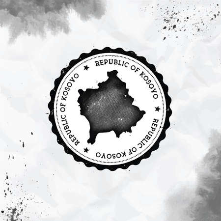 Kosovo watercolor round rubber stamp with country map. Black Kosovo passport stamp with circular text and stars, vector illustration.