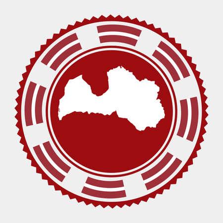 Latvia flat stamp.   map and flag of Latvia. Vector illustration.