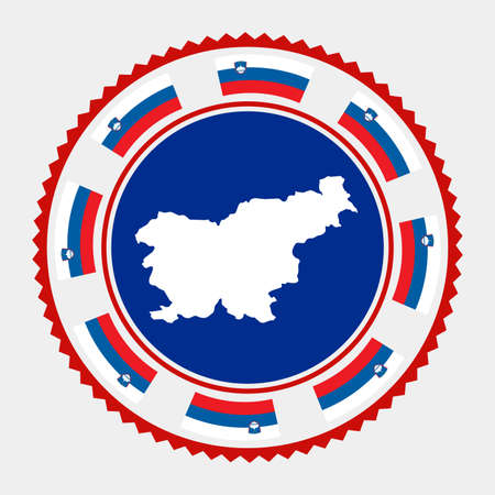 Slovenia flat stamp.  map and flag of Slovenia. Vector illustration.  イラスト・ベクター素材