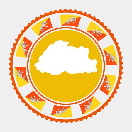 Bhutan flat stamp.  map and flag of Bhutan. Vector illustration.