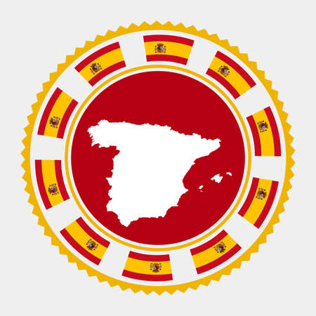 Spain flat stamp.  map and flag of Spain. Vector illustration.  イラスト・ベクター素材