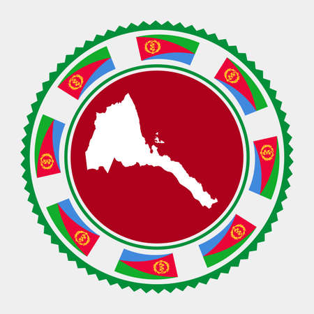 Eritrea flat stamp.   map and flag of Eritrea. Vector illustration.