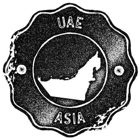 UAE map vintage stamp. Retro style handmade label, badge or element for travel souvenirs. Black rubber stamp with country map silhouette. Vector illustration.