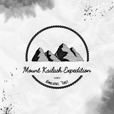 Kailash  round trekking black vector insignia. Kailash in Himalayas, Tibet outdoor adventure illustration. Climbing, trekking, hiking, mountaineering and other extreme activities   template.