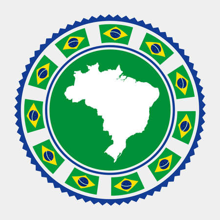 Brazil flat stamp.  map and flag of Brazil. Vector illustration. Standard-Bild - 124553369