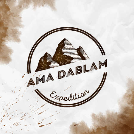 Mountain Ama Dablam   Round expedition sepia vector insignia. Ama Dablam in Himalayas, Nepal outdoor adventure illustration.