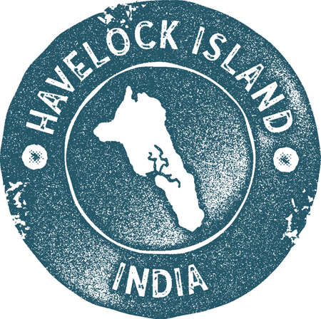 Havelock Island map vintage stamp. Retro style handmade label, badge or element for travel souvenirs. Blue rubber stamp with island map silhouette. Vector illustration.