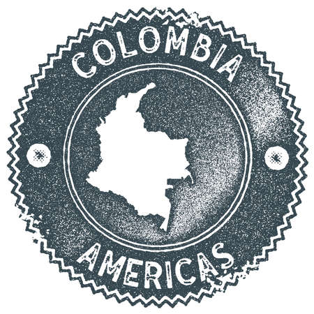 Colombia map vintage stamp. Retro style handmade label, badge or element for travel souvenirs. Dark blue rubber stamp with country map silhouette. Vector illustration. Illustration