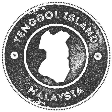 Tenggol Island map vintage stamp. Retro style handmade label, badge or element for travel souvenirs. Dark grey rubber stamp with island map silhouette. Vector illustration.
