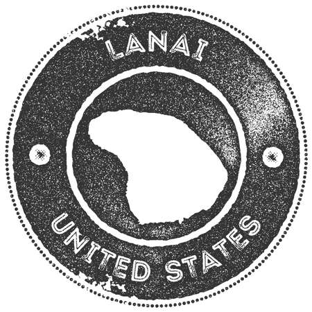 Lanai map vintage stamp. Retro style handmade label, badge or element for travel souvenirs. Dark grey rubber stamp with island map silhouette. Vector illustration.