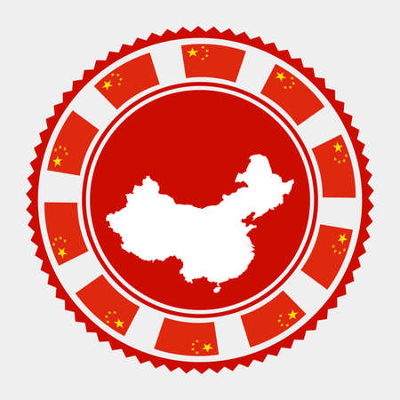 China flat stamp. map and flag of China. Vector illustration.  イラスト・ベクター素材