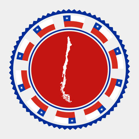 Chile flat stamp.  map and flag of Chile. Vector illustration.  イラスト・ベクター素材