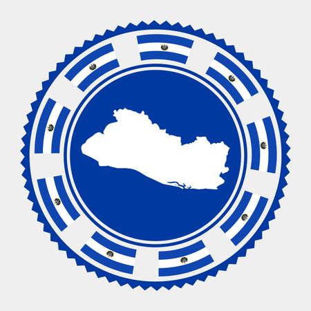 Republic of El Salvador flat stamp. map and flag of Republic of El Salvador. Vector illustration.  イラスト・ベクター素材