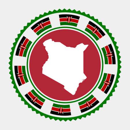 Kenya flat stamp. map and flag of Kenya. Vector illustration.