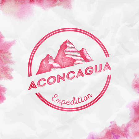 Mountain Aconcagua  Round expedition red vector insignia. Aconcagua in Andes, Argentina outdoor adventure illustration.