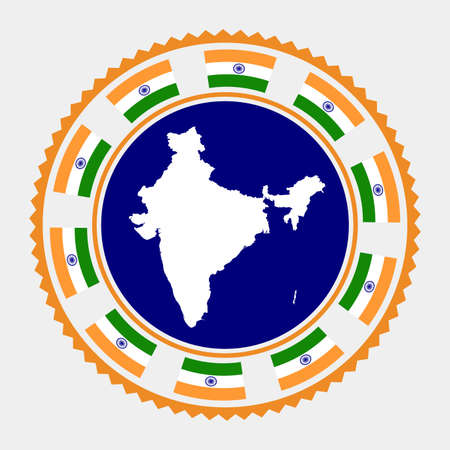 India flat stamp. map and flag of India. Vector illustration. Illustration